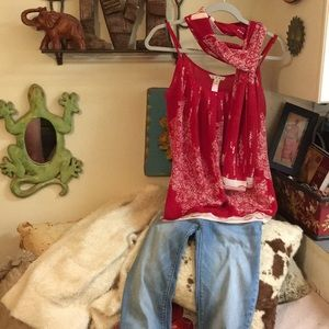 CAbi Heart of Township Tank Top Red with scarf M!
